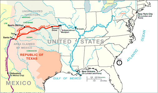 Official Santa Fe Trail Association - Map of us 1845