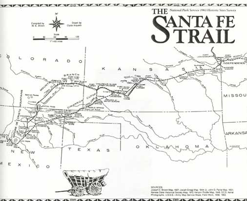 this map was created in 1963 as part of the national survey of historic sites and buildings the santa fe trail by william e brown